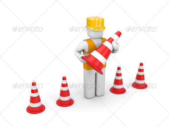 Repairman with traffic cones - Stock Photo - Images