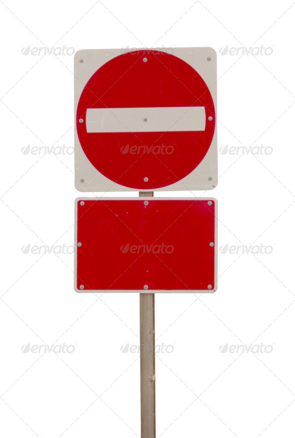 blank Wrong way red sign isolated on white - Stock Photo - Images