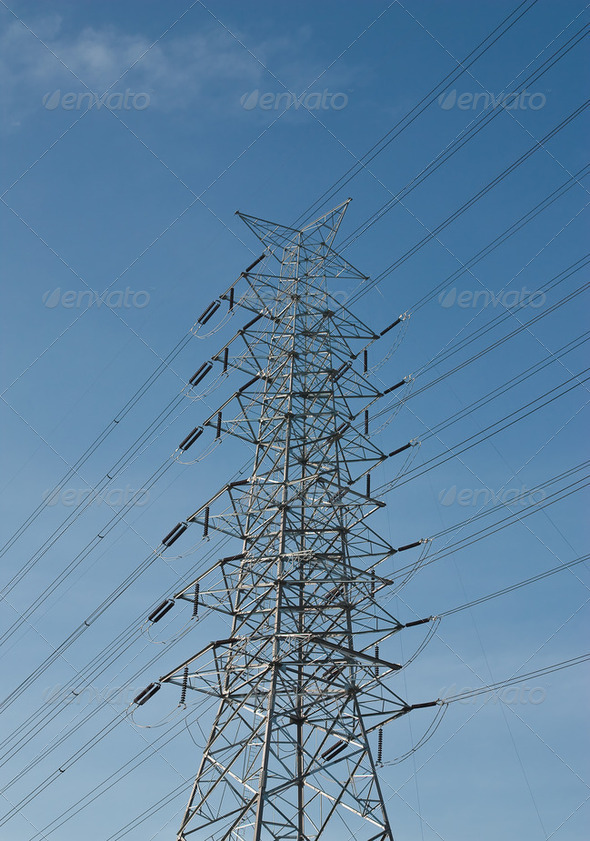 High voltage power pole. - Stock Photo - Images