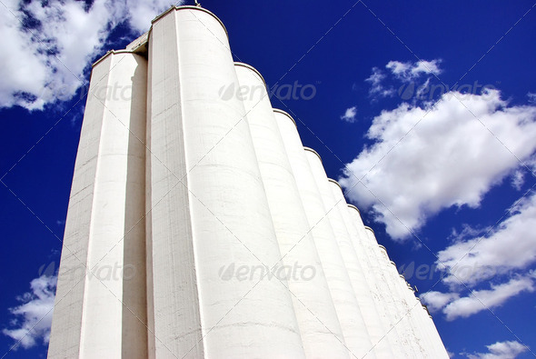 Portuguese silo of wheat grain. - Stock Photo - Images