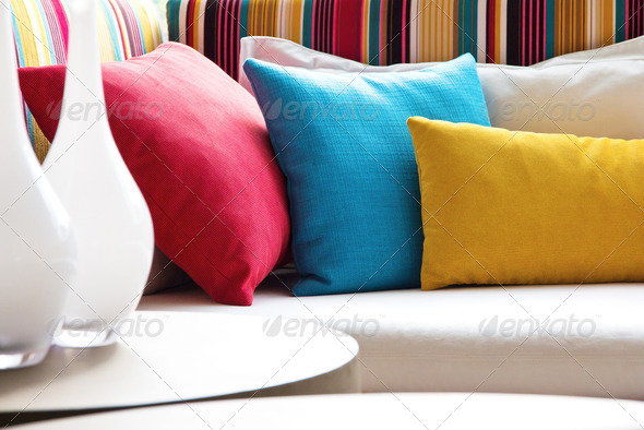 Decorative pillow natural Fabric  - Stock Photo - Images
