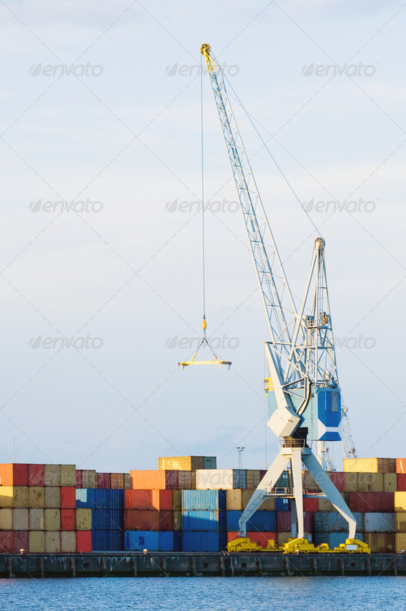 Large Cargo Crane and Containers at Seaport - Stock Photo - Images