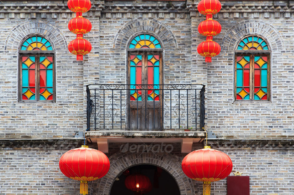 Chinese old style building facade - Stock Photo - Images