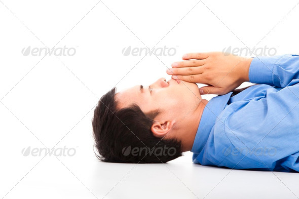 businessman lying on floor with praying - Stock Photo - Images