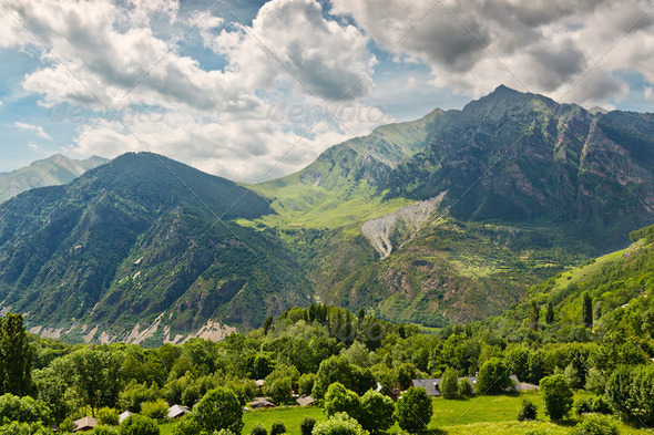 Pyrenees mountain views from Taull, Catalonia, Spain - Stock Photo - Images