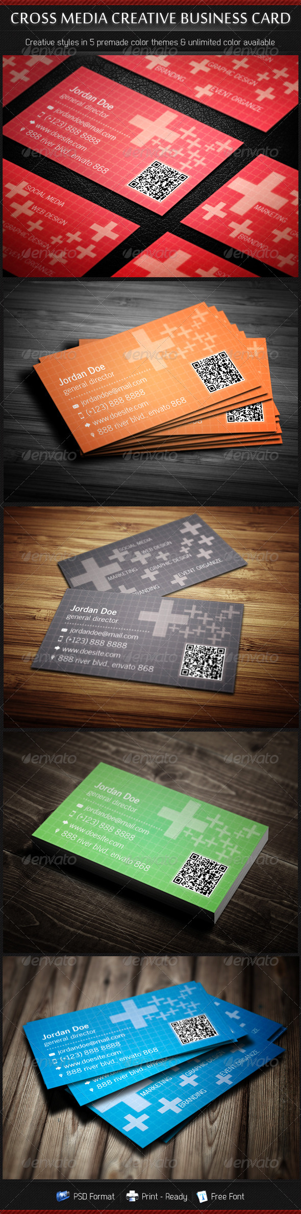 GraphicRiver Cross Media Creative Business Cards 5 in 1 3358443