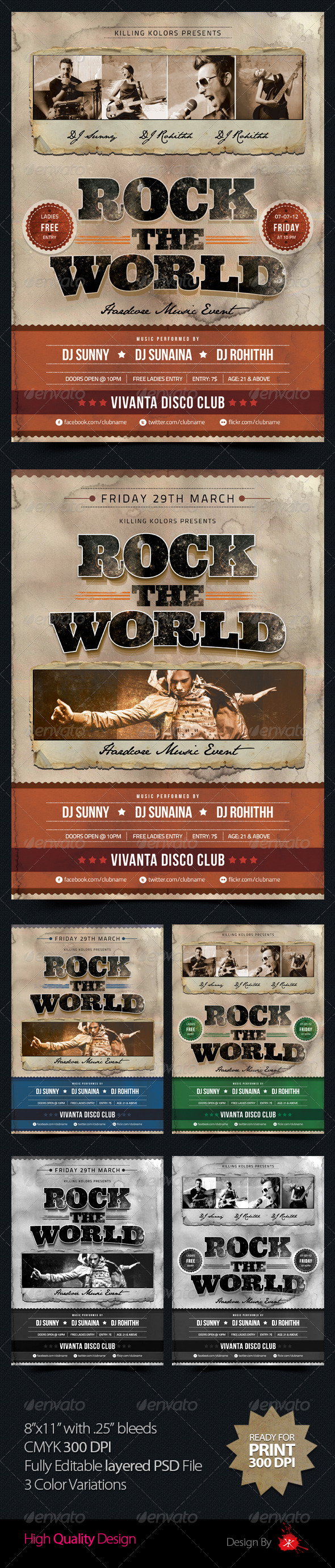 Rock the World Retro Flyer - Concerts Events