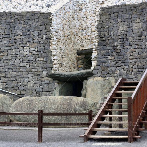 Newgrange entrance - Stock Photo - Images