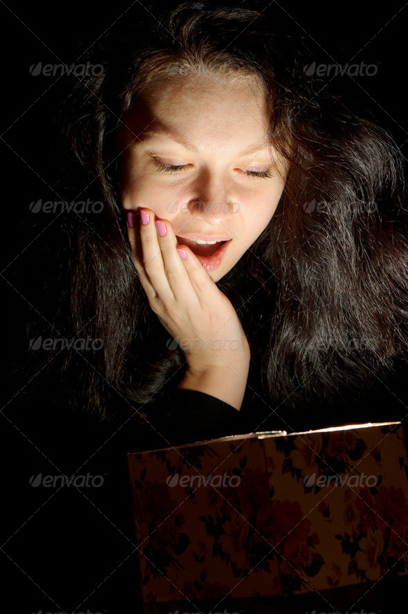 The woman with a gift box - Stock Photo - Images