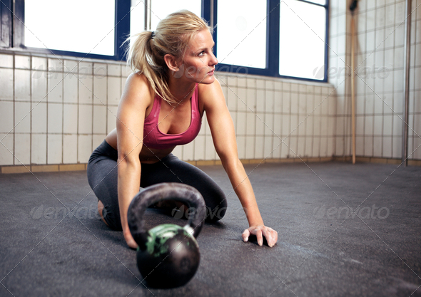 Crossfit Woman Resting - Stock Photo - Images