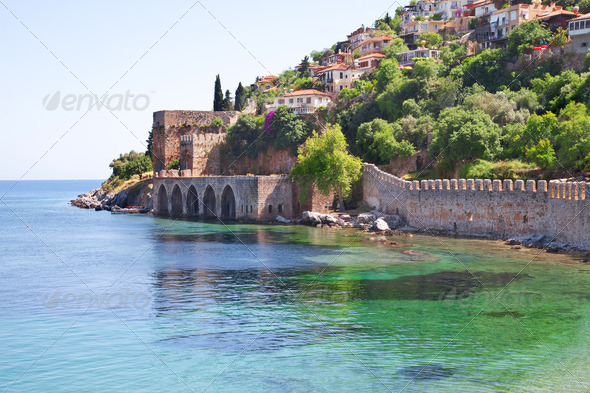 The old fort in the Turkish city of Alanya - Stock Photo - Images