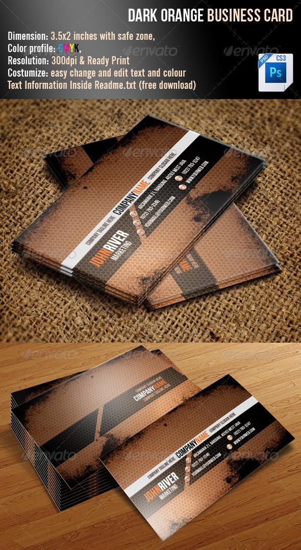 GraphicRiver Dark Orange Grunge Business Card 3358770