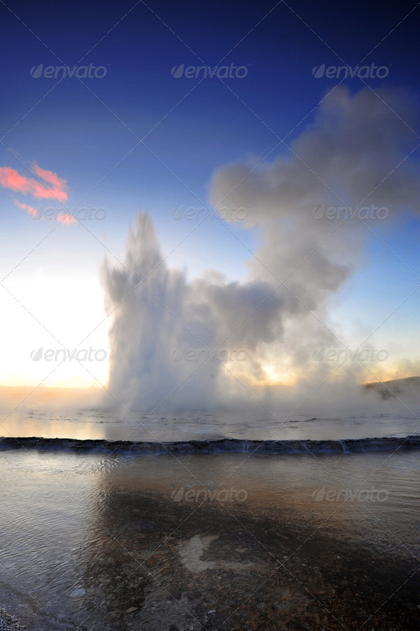 eruption geyser - Stock Photo - Images