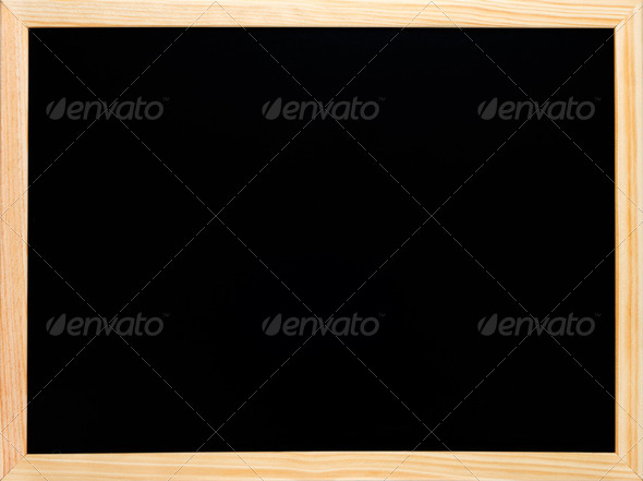 Blackboard or chalkboard rectangular wooden black empty - Stock Photo - Images