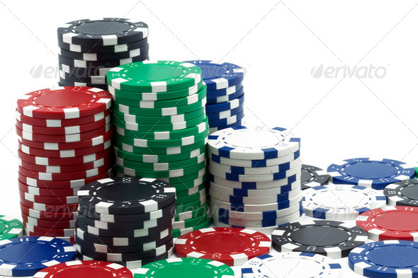 some poker tokens - Stock Photo - Images
