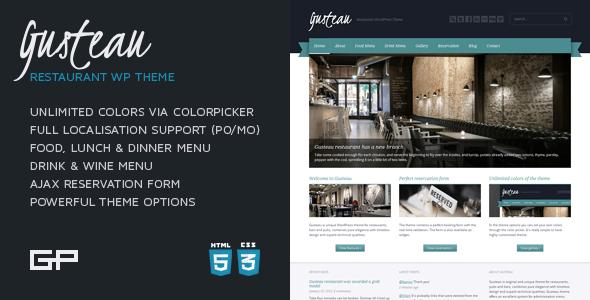 ThemeForest Gusteau Restaurant WordPress Theme 409126