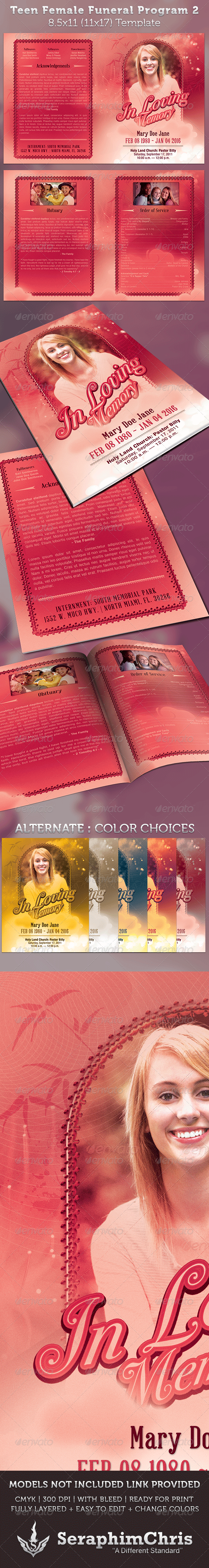 Teen Funeral Program Template - Informational Brochures