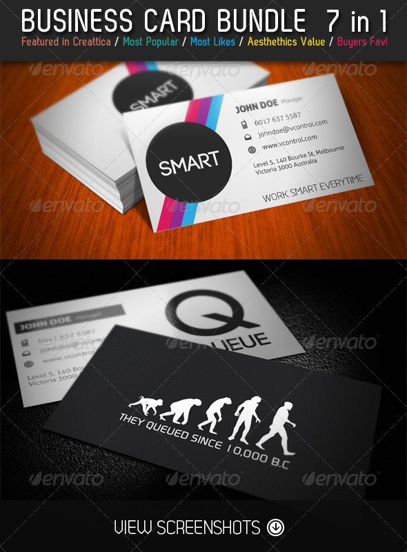 GraphicRiver 7 Wonders Business Card Bundle 7 in 1 3342223