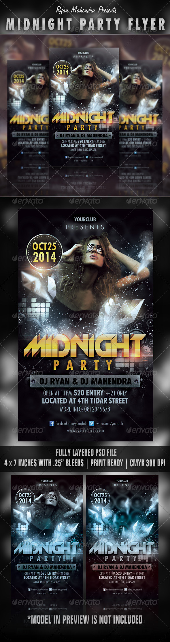 Midnight Party Flyer - Clubs &amp; Parties Events
