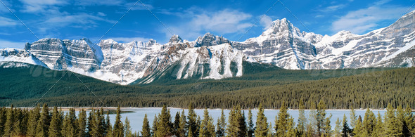 Panoramic View To Canadian Rockies Mountains - Stock Photo - Images