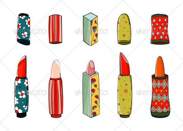 GraphicRiver Lipstick Set Colorful Drawing 3361296