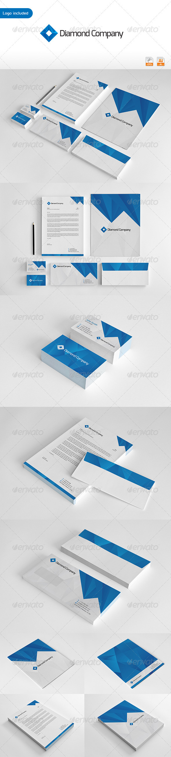 Diamond Company Corporate Identity - Stationery Print Templates