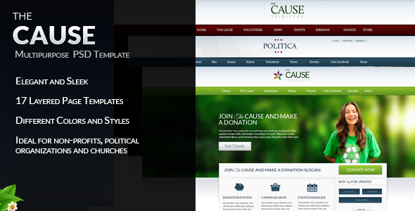 The Cause - Multipurpose Non-Profit PSD Template