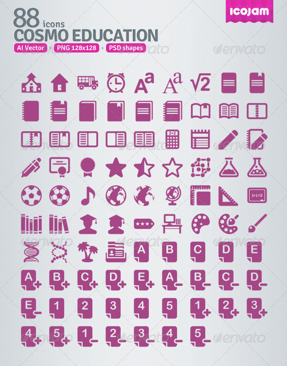 GraphicRiver 88 AI and PSD Education Icons 3363076