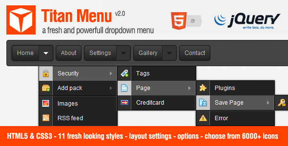 CodeCanyon Titan Menu a fresh and powerfull dropdown menu 258696