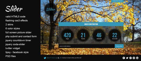 ThemeForest Slider HTML5 under construction website template 2724950