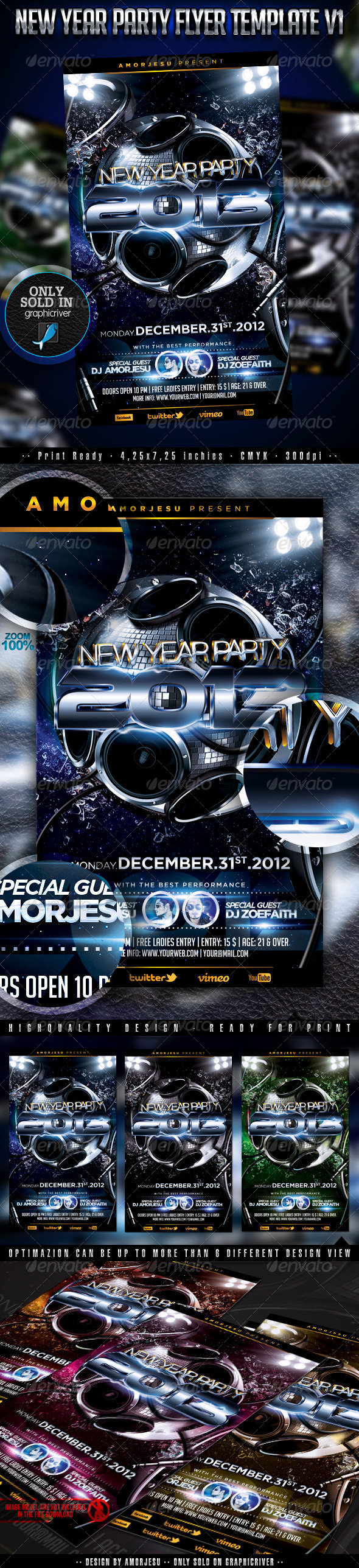 New Year Party Flyer Template V1 - Events Flyers