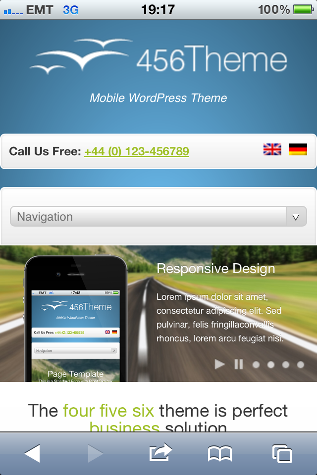 456Theme Premium Responsive Wordpress Theme - iphone front page