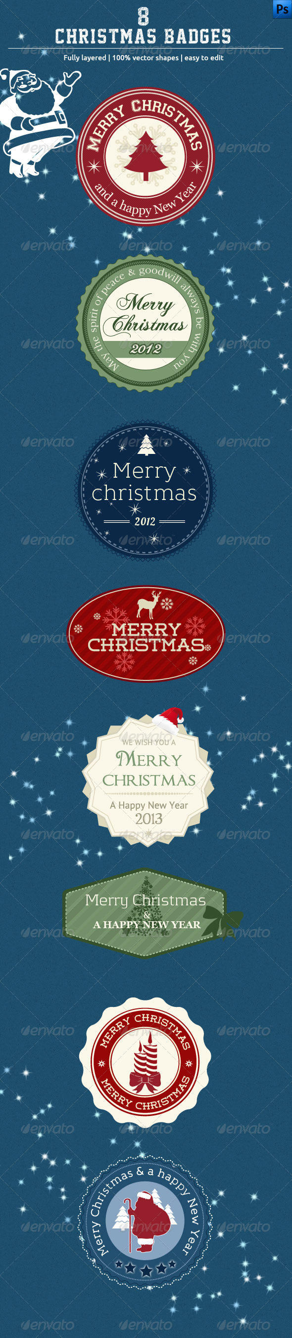GraphicRiver 8 Christmas Badges 3364735