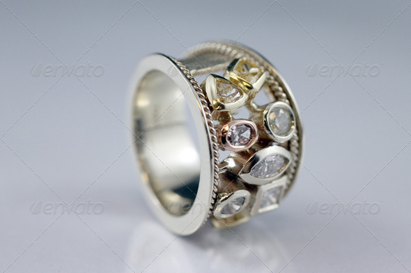 Ring With 7 Diamonds - Stock Photo - Images