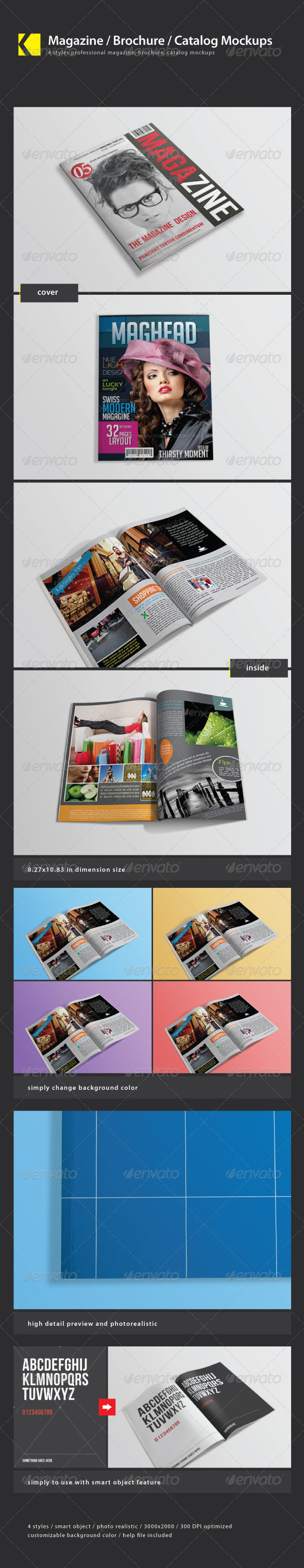 GraphicRiver Magazine Brochure Catalog mockups 3365402