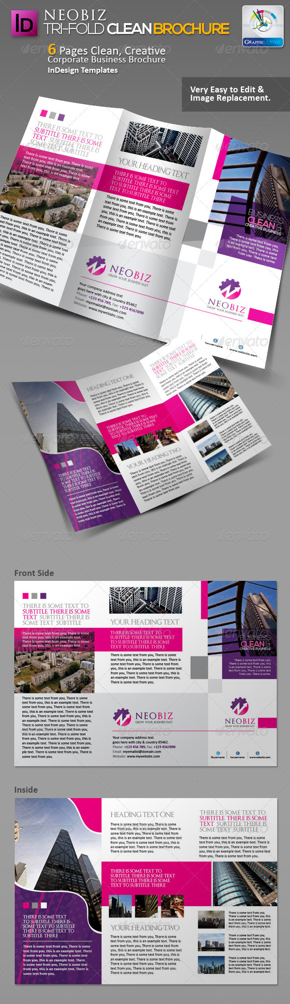 GraphicRiver NeoBiz Tri-fold Clean Brochure 3365422