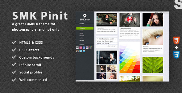 SMK Pinit - Tumblr Theme - ThemeForest Item for Sale