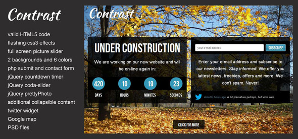 Contrast - Under Construction Website Template - Under Construction Specialty Pages