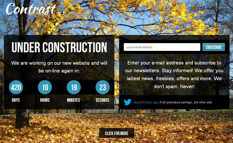 Contrast - Under Construction Website Template