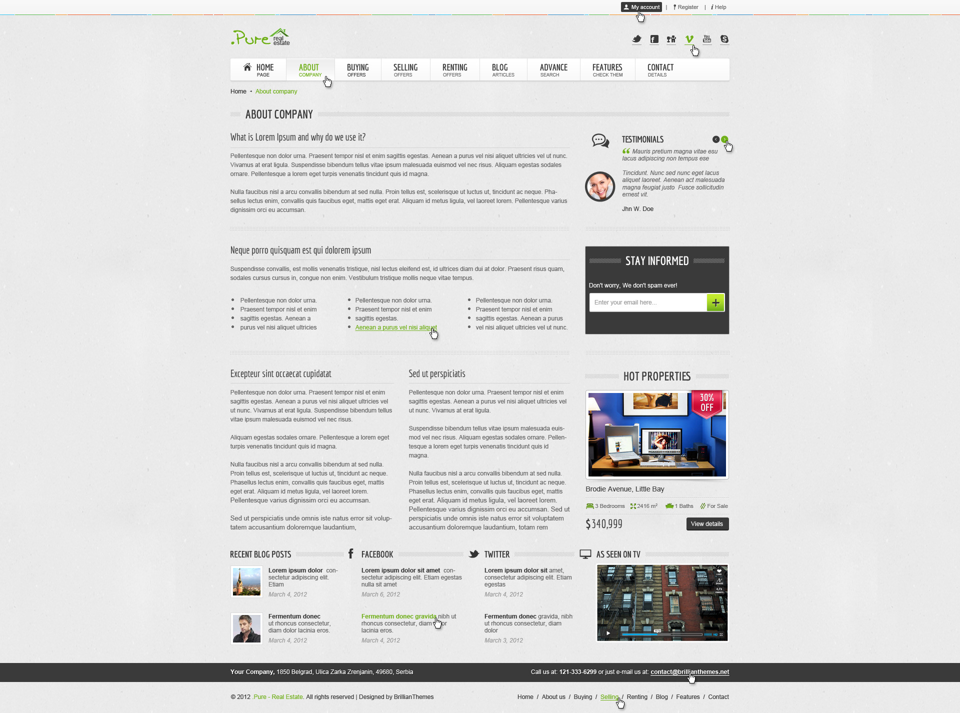 Pure Real Estate Multipurpose PSD Theme