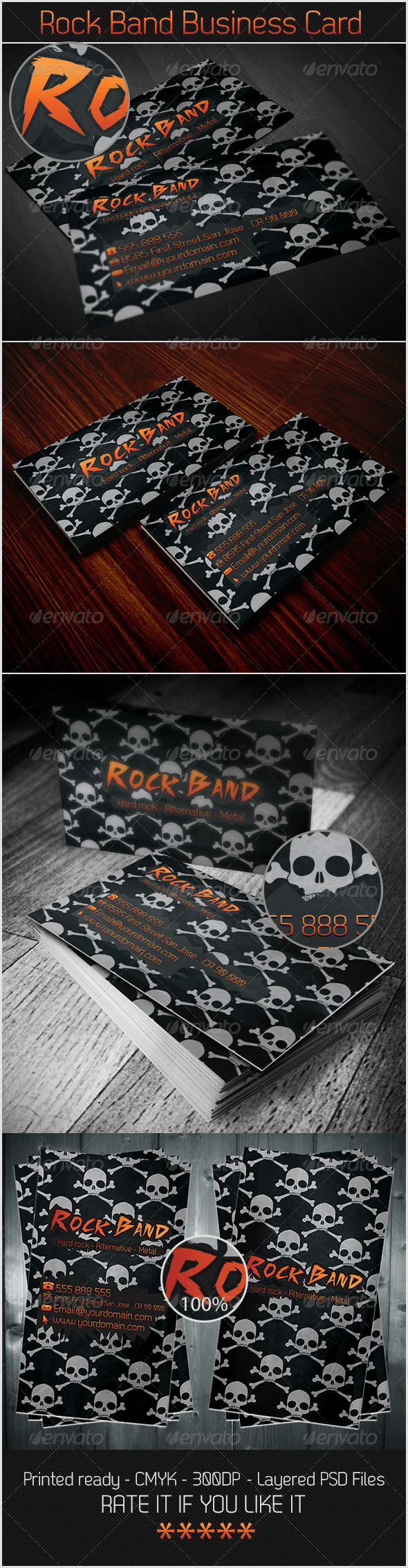 GraphicRiver Rock Band Business Card 3371003