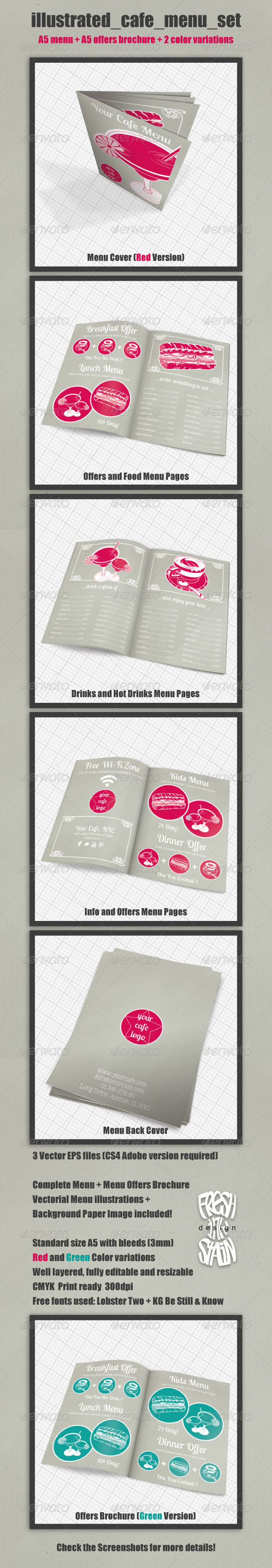 Illustrated Cafe Menu Set - Food Menus Print Templates
