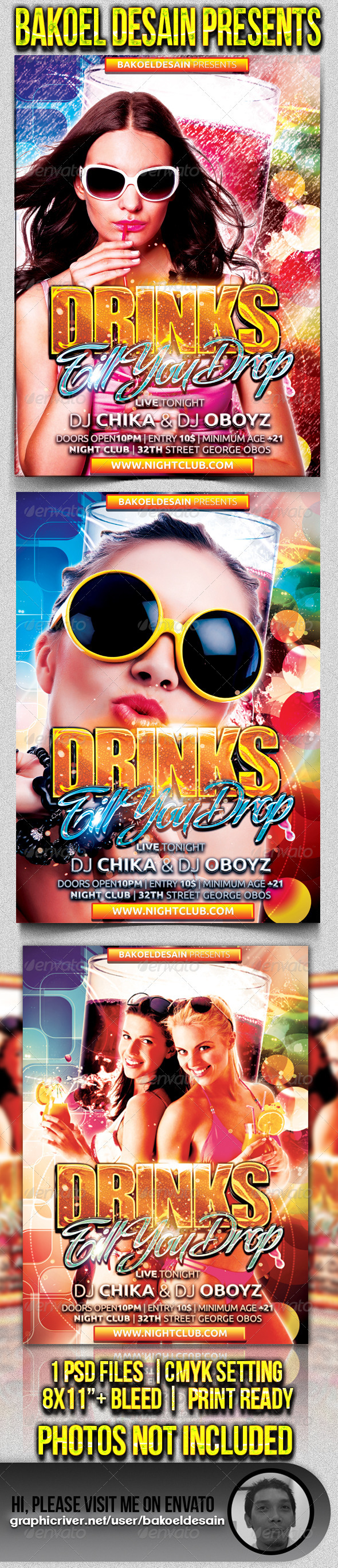 Drinks Till You Drop Party Flyer - Clubs & Parties Events