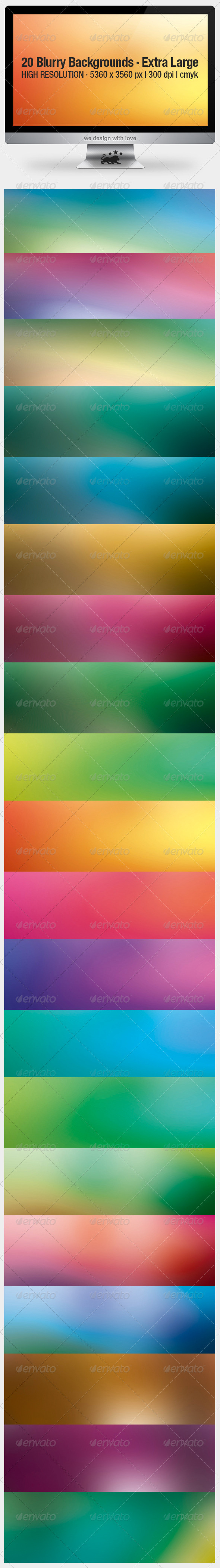 GraphicRiver 20 Blurry Backgrounds Extra Large 3373299