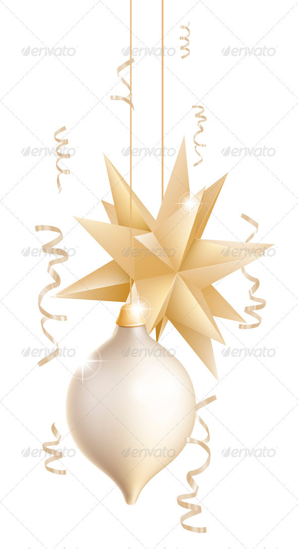 GraphicRiver Beautiful gold and white Christmas baubles 3373474
