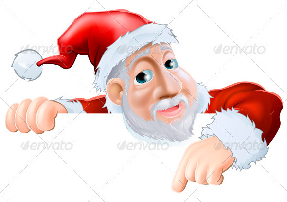 Happy cartoon Santa pointing down - Christmas Seasons/Holidays
