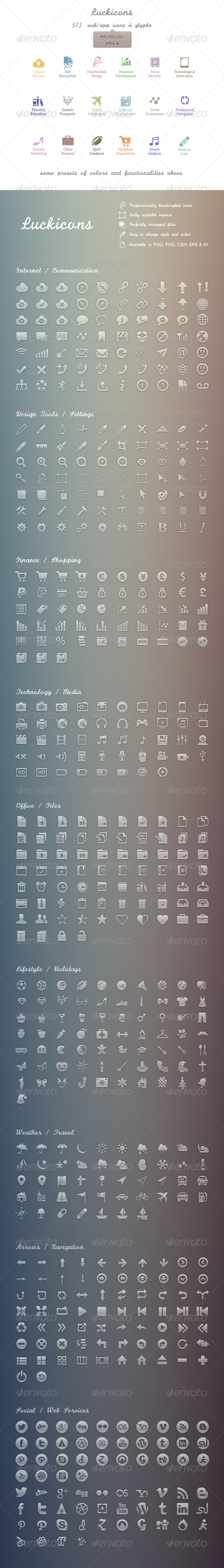 Luckicons - 579 handgrafted vectors icons | PSD... - Web Icons