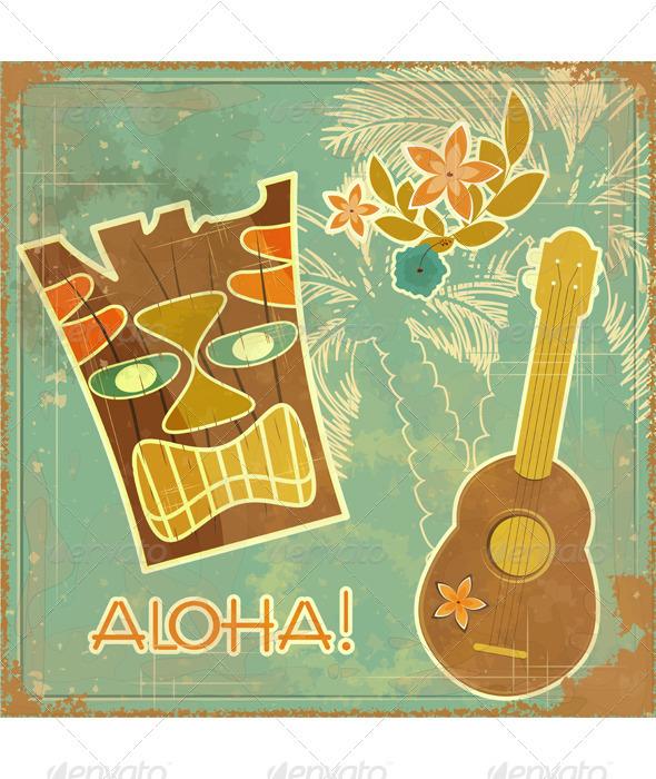 GraphicRiver Retro Hawaiian postcard 3374929