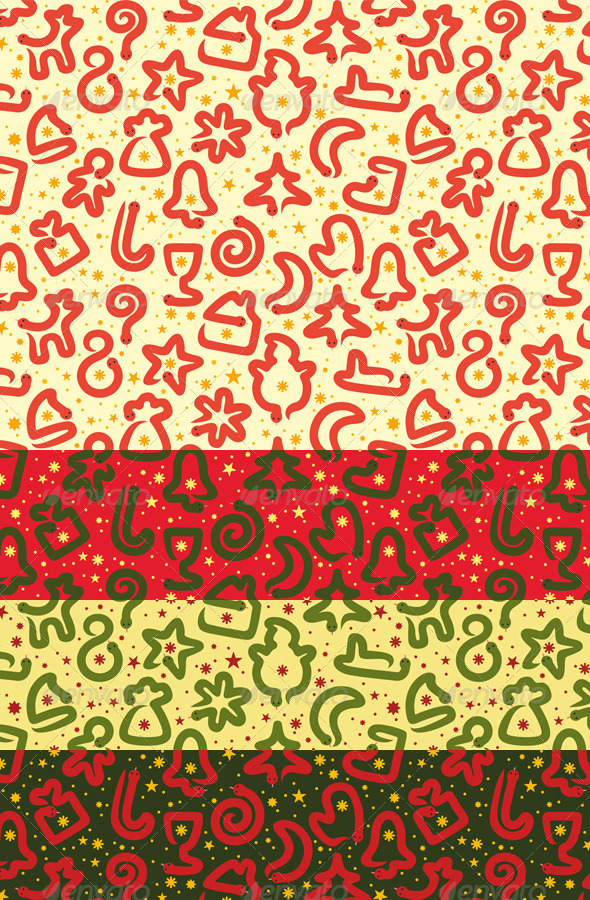 Four Christmas Snakes Seamless Patterns - Miscellaneous Textures / Fills / Patterns
