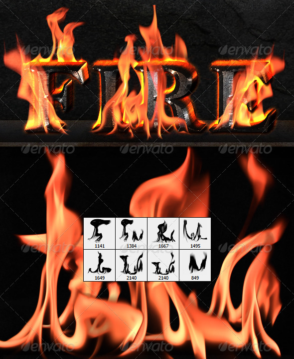 GraphicRiver Fire Flames Brushes 3381512
